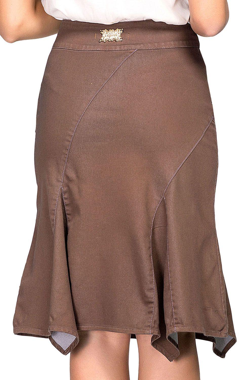 Saia Marrom Modelo Sino Barrado Com Recortes Assimétricos Dyork Jeans