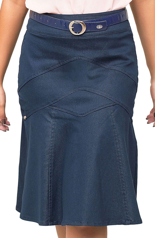 Saia Midi Clássica Colorida Com Recortes e Bolsos Traseiros Dyork Jeans