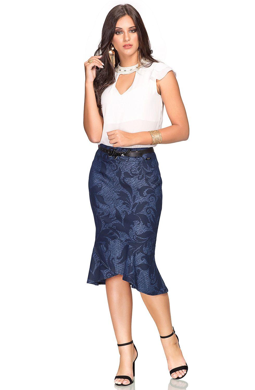 Saia Midi com Estampa Exclusiva Babados na Barra Dyork Jeans