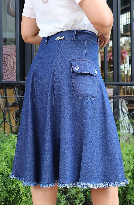 Saia Midi Evasê Botões FrontaisDyork Jeans