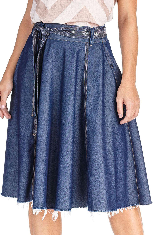 Saia Midi Godê Jeans Dyork Jeans