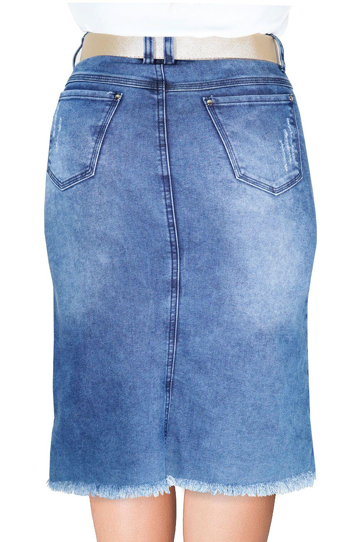 Saia Midi Jeans Barra e Recortes Desfiados Dyork Jeans