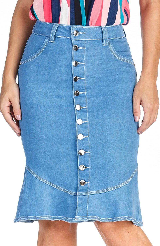 Saia Midi Jeans Clara com Botões na Frente Dyork Jeans
