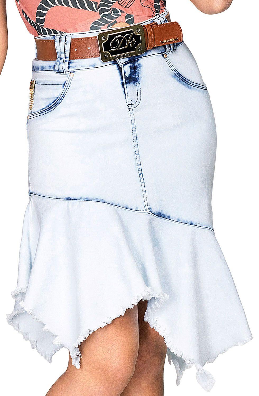 Saia Midi Jeans com Barra Assimetrica e Desfiada Dyork Jeans