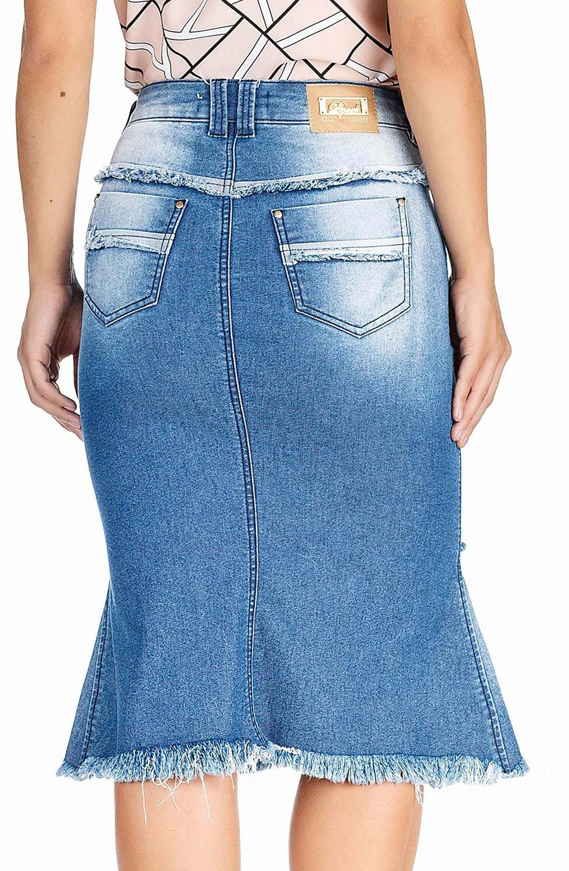 Saia Midi Jeans com Barra Desfiada Dyork Jeans