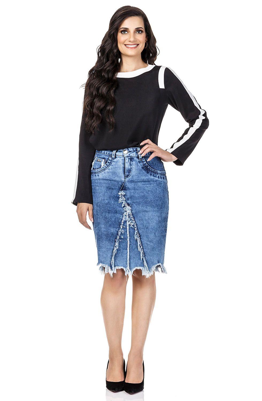 Saia Midi Jeans com Barra e Recortes Desfiados Dyork Jeans