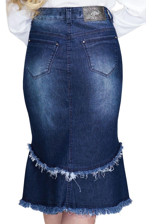 Saia Midi Jeans com Botões Recorte e Barra Desfiada Dyork Jeans