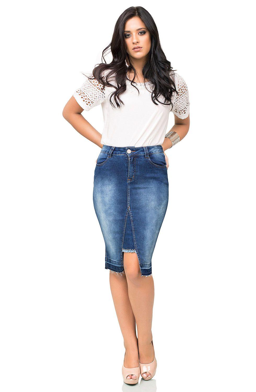 Saia Midi Jeans com Detalhe de Fenda e Barra Desmanchada Dyork Jeans