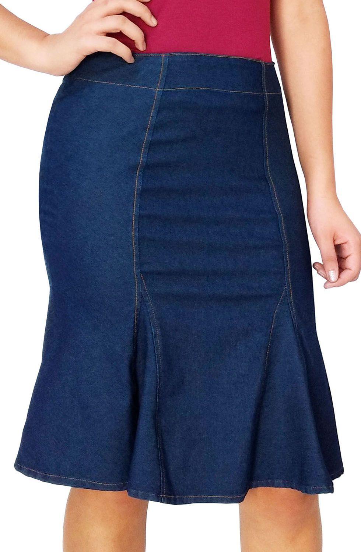 Saia Midi Jeans com Recortes Dyork Jeans