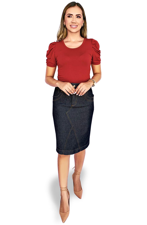 Saia Midi Jeans com Recortes Dyork Moda Evangélica