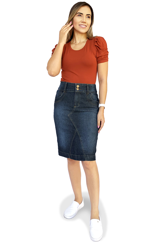 Saia Midi Jeans Escura com Recortes Dyork Moda Evangélica