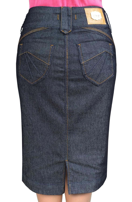 Saia Midi Jeans Escuro Nowash Dyork Jeans