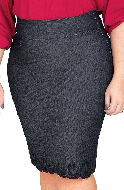 Saia Midi Jeans Escuro Plus Bordado na Barra Dyork Jeans