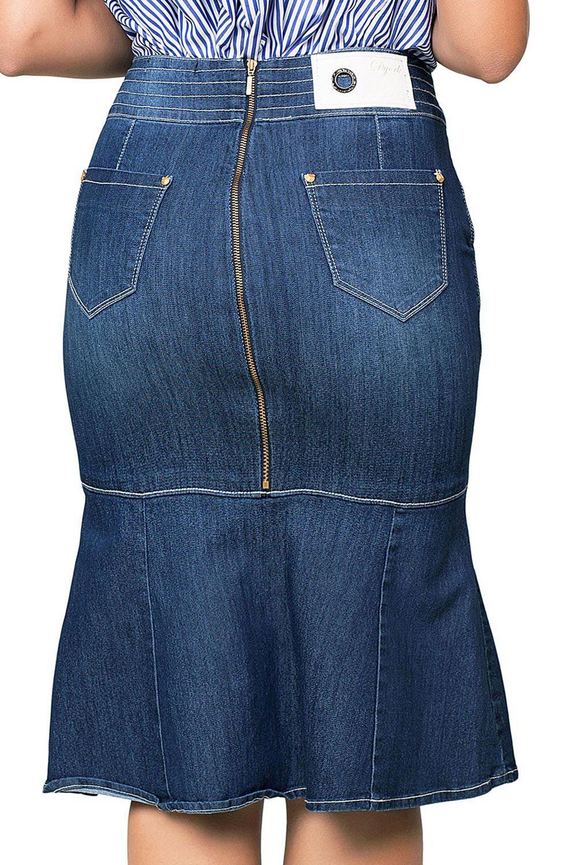 Saia Midi Jeans Flare com Fechamento de Zíper Traseiro Dyork Jeans