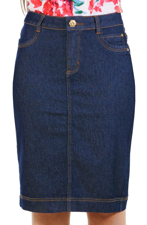 Saia Midi Jeans Natural Classic com Elastano Dyork Jeans