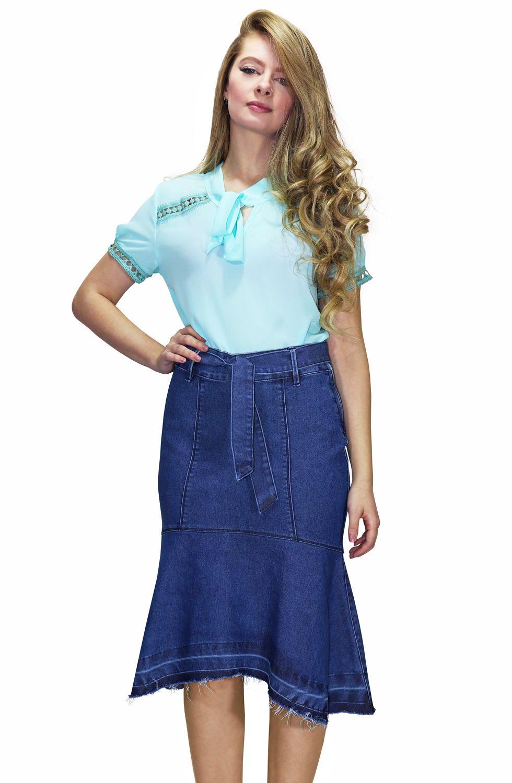 Saia Midi Jeans Sereia com Cinto de Amarração Dyork Jeans