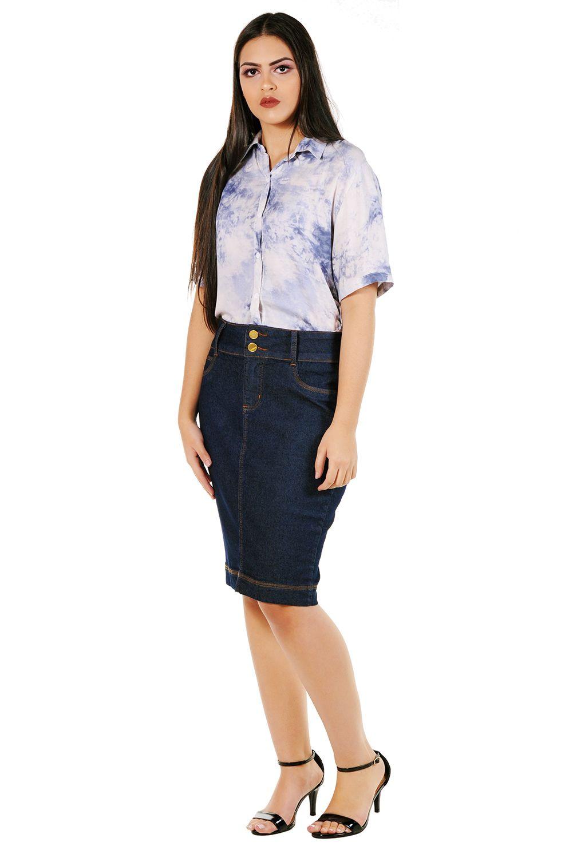 Saia Midi Lápis Jeans Natural Classic Dyork Jeans