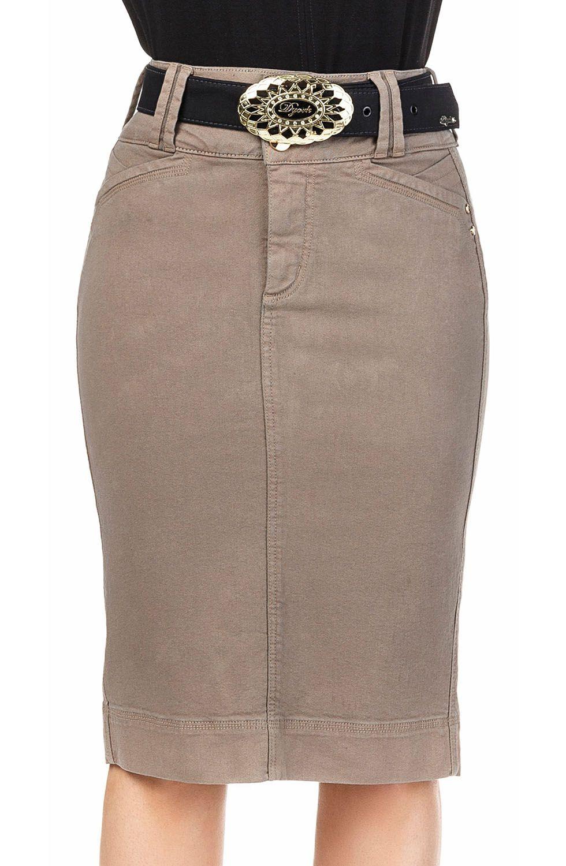 Saia Midi Reta em Jeans Marrom com Cintura Alta Dyork Jeans