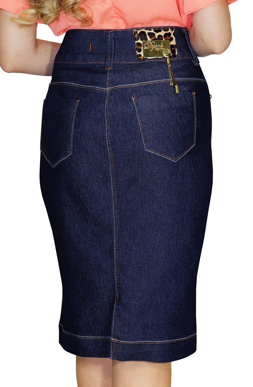 Saia Midi Reta Jeans Escura com Costura Contrastantes Dyork Jeans