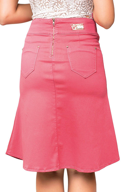 Saia Midi Rosa Evasê Dyork Jeans