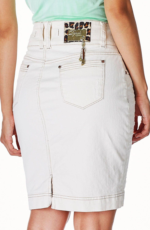 Saia Off White Jeans Detalhes Amassados Dyork Jeans