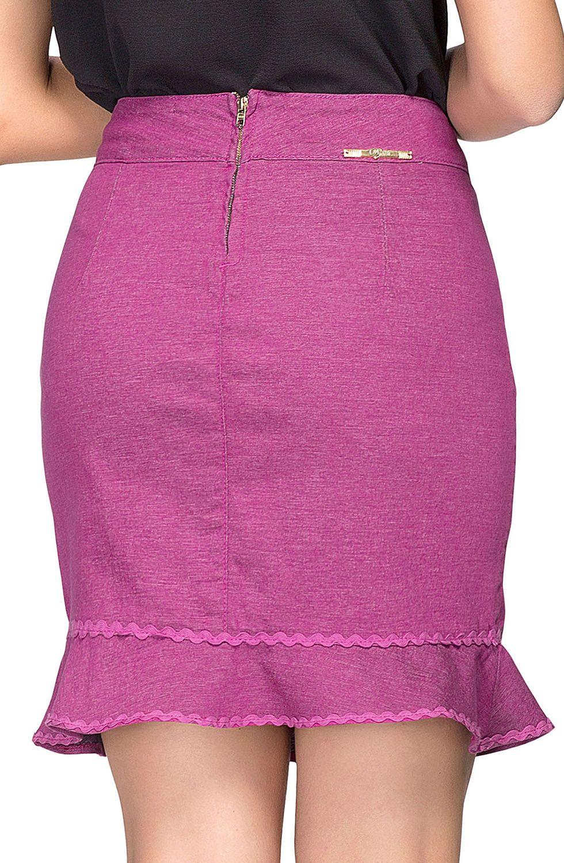 Saia Pink Curta Aplicações Em Renda Dyork Jeans