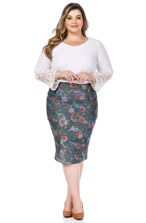 Saia Plus Size Reta Verde Musgo Com Estampa Floral Dyork Jeans