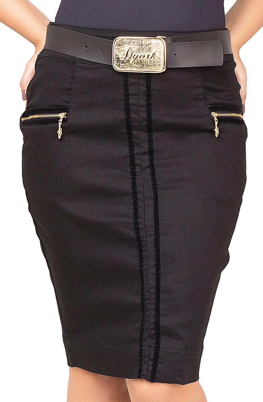 Saia Preta Clássica com Zíper Aparente Dourado e Detalhes de Fitas de Veludo Dyork Jeans