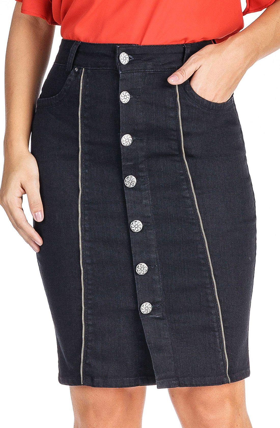 Saia Preta Jeans com Botões na Frente Dyork Jeans