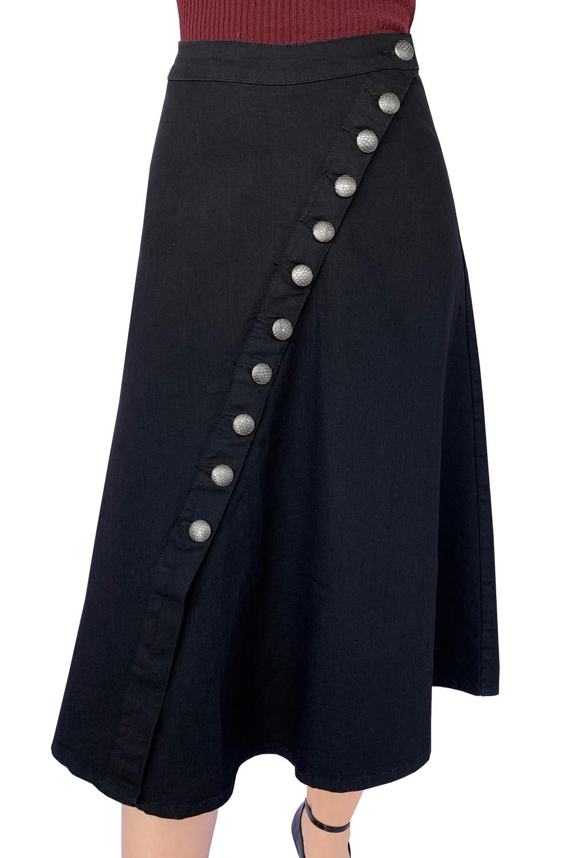 Saia Preta Jeans Maxi Midi Botões Evasê Dyork Moda Evangélica