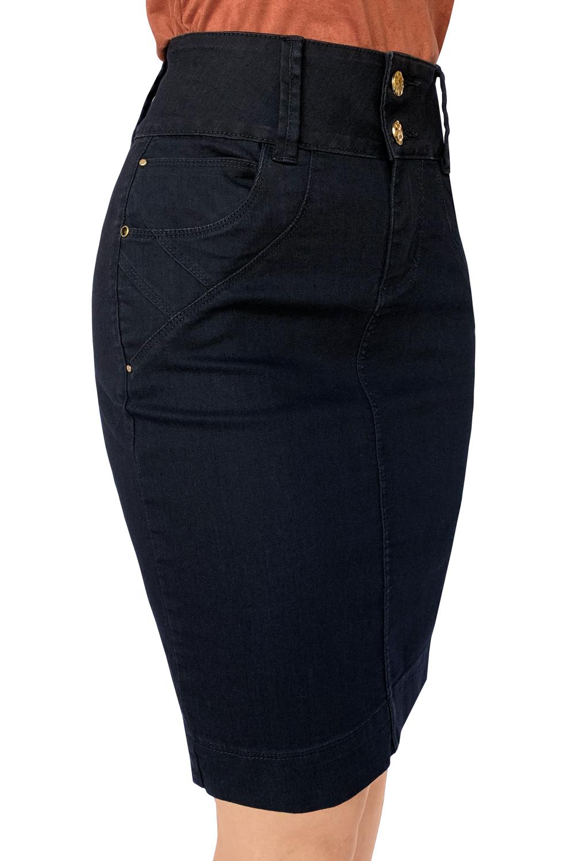 Saia Preta Jeans Midi Cós Alto Dyork Moda Evangélica