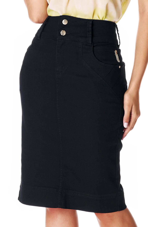 Saia Preta Jeans Midi Dyork Jeans