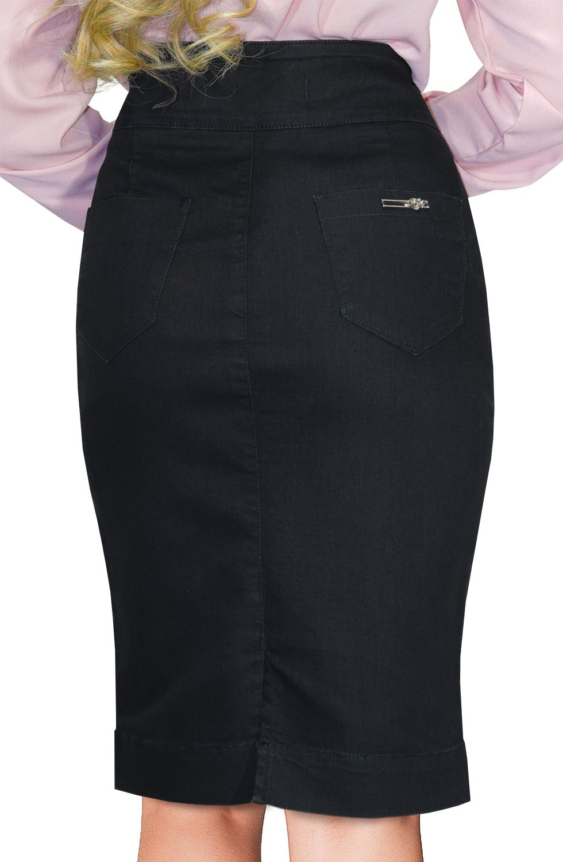 Saia Preta Jeans Midi Pala Arredondada na Frente Dyork Jeans