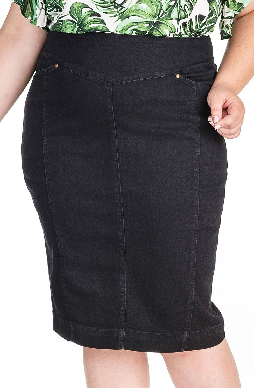 Saia Preta Jeans Plus com RecortesDyork Jeans