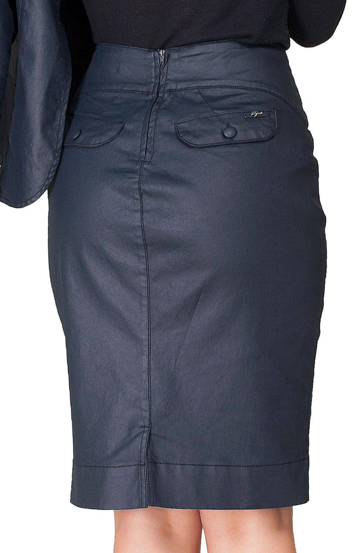 Saia Preta Jeans Resinada com Recortes Dyork Jeans