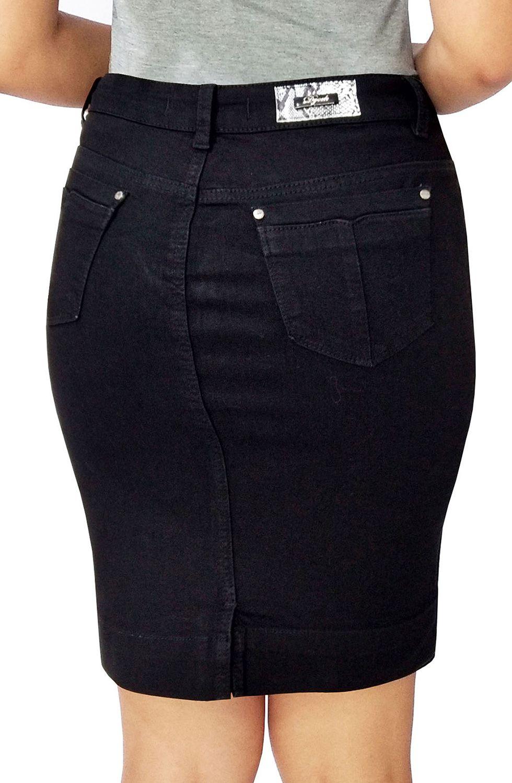 Saia Preta Jeans Secretária Dyork Jeans
