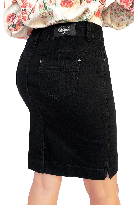 Saia Preta Jeans Secretária Dyork Moda Evangélica