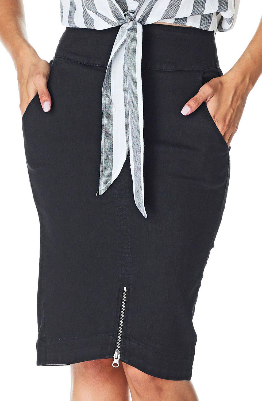 Saia Preta Lápis Detalhe De Zíper Dyork Jeans