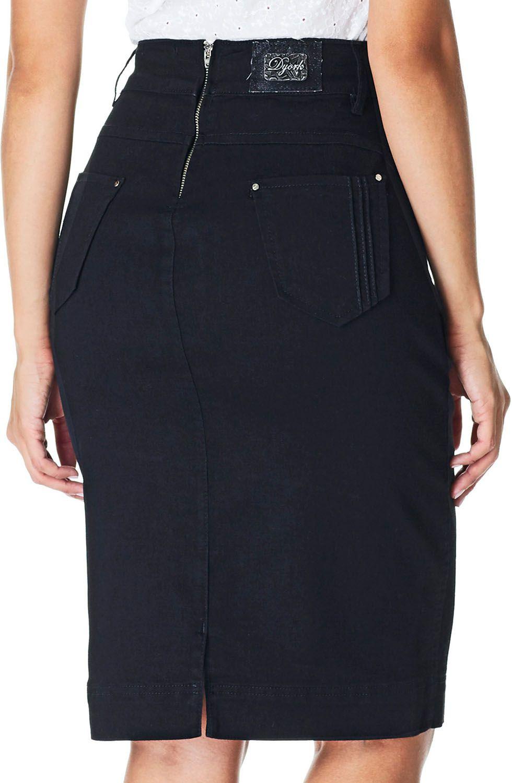Saia Preta Lápis Detalhe Zíper na Frente Dyork Jeans