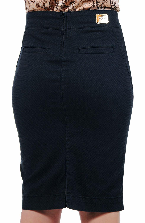Saia Preta Lápis Midi Bolso Faca Dyork Jeans