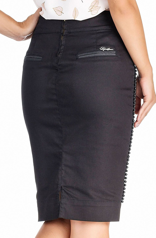 Saia Preta Midi Detalhe Pérolas Laterais Dyork Jeans