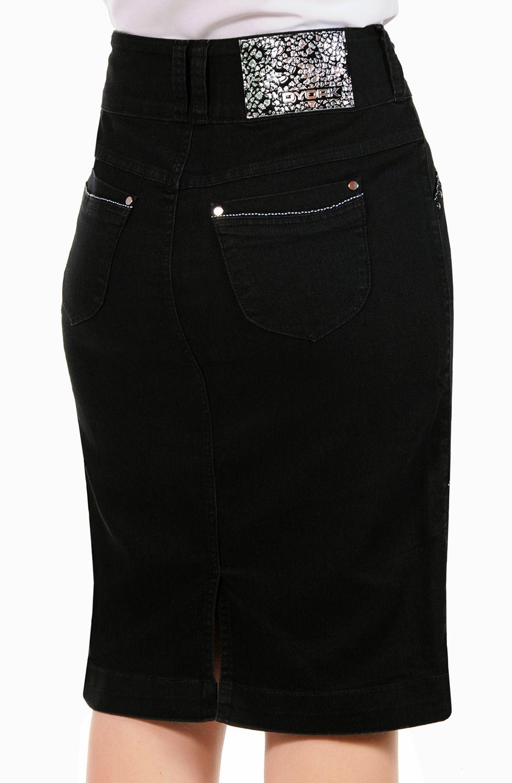 Saia Preta Midi Recortes com Vivo Dyork Jeans