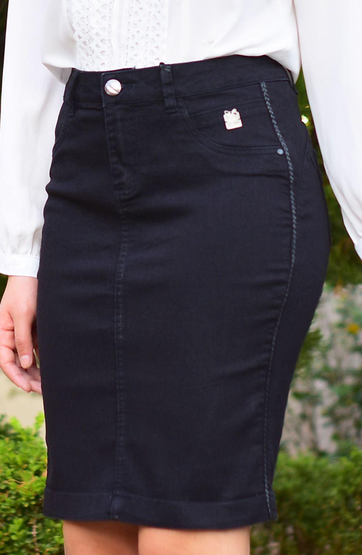 Saia Preta Secretária com Galão nas Laterais Dyork Jeans