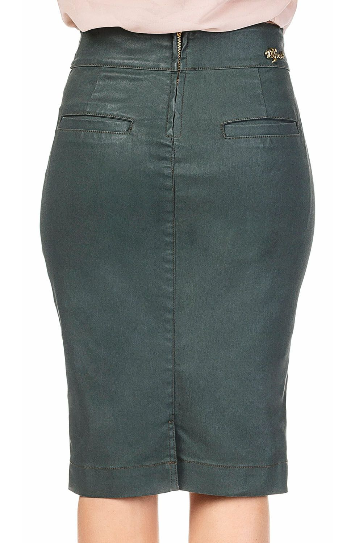 Saia Resinada Verde Militar Barrado Assimétrico Dyork Jeans