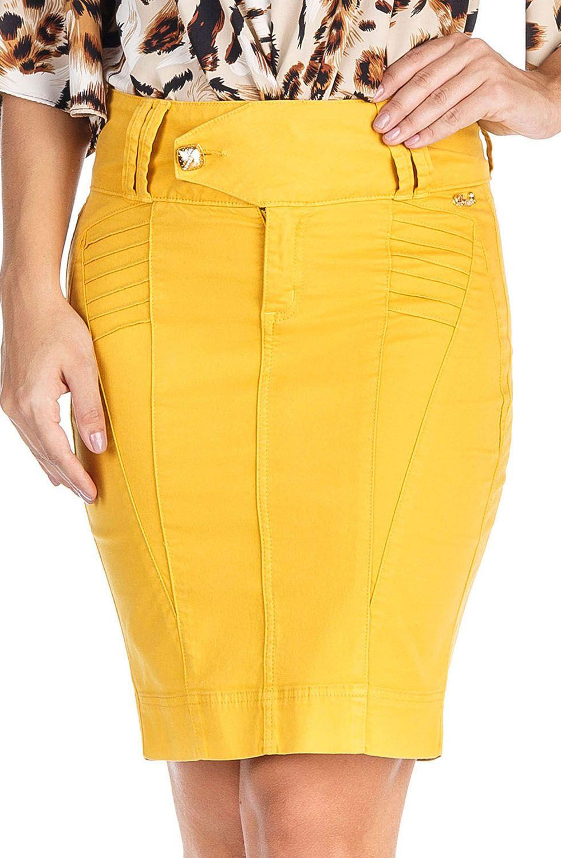 Saia Secretária Amarela Cós Transpassado Dyork Jeans