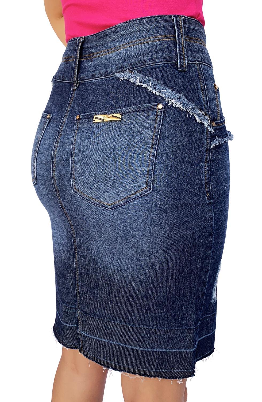 Saia Secretária Barra Desmanchada e Recortes Desfiados Dyork Jeans