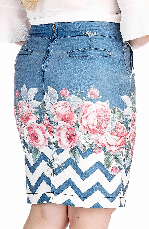 Saia Secretária com Estampa Floral na Barra Dyork Jeans
