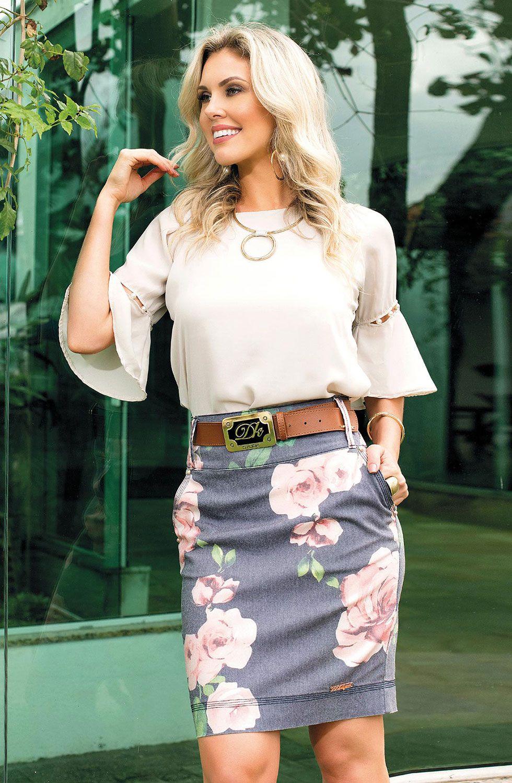 Saia Secretária Estampa Exclusiva com Bolsos Dyork Jeans