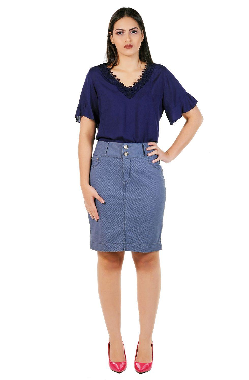 Saia Secretária Estampada Azul Claro Dyork Jeans