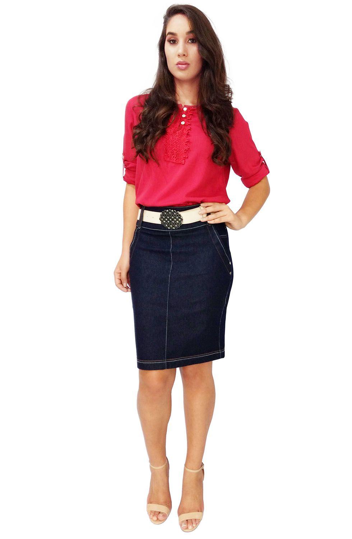 Saia Secretária Jeans Azul MarinhoDyork Jeans
